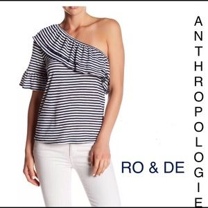 RO & DE ANTHROPOLOGIE stripped off shoulder shirt